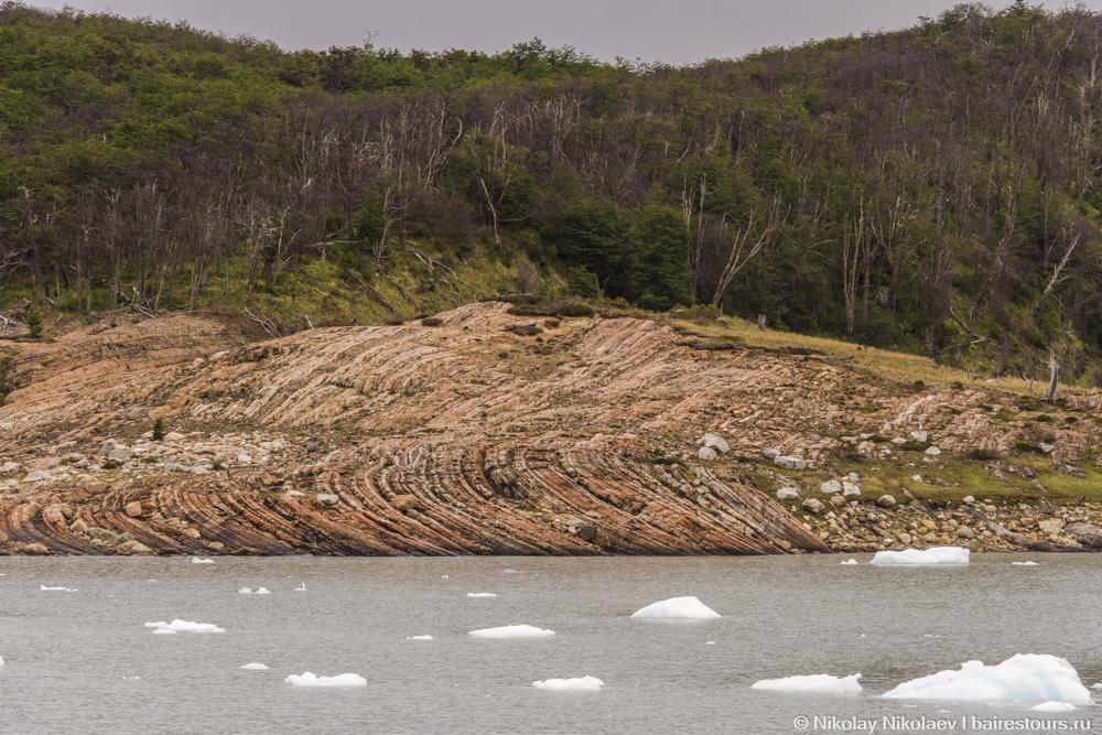 20. Такие картины остаются, когда ледник тает и сползает с суши.